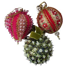Retro Christmas Ornaments Beads Ribbons Sequins in Red, Gold and Green