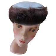 Ladies Topper in Dove Gray Faux Suede and Faux Fur Brown Band for Fall and Winter Fashions