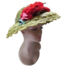 Wide Brim Hat Lime Green Straw Red Roses Styled by Nikki