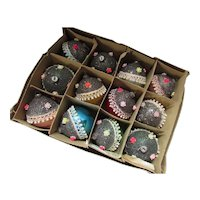 Box Christmas Ornaments Glass Balls with Silver Glitter Tops Made in Japan
