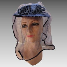 Navy Felt Hat with Long Trimmed Veil 1940 1950 Style Luncheon or Executive Hat Made in USA