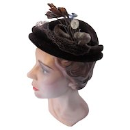 Mid Century Topper Hat in Dark Chocolate Brown Felt with Feather and Chenille Decoration