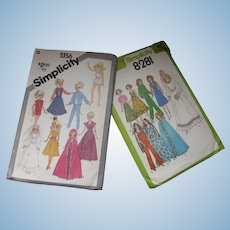 """Pair Simplicity Doll Clothes Patterns 1977 & 1981 for 11 1/2"""" Dolls Barbie Cher"""