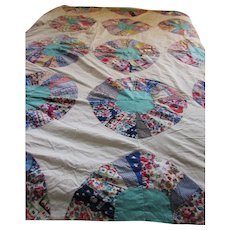 Quilt Top Dresden Plate Mid Century Prints Farmhouse Style Cottage Decor Hand Stitched