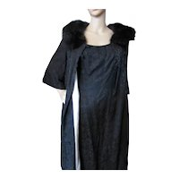 Black Brocade Coat Cocktail Dress Sandra Sage 1960 Era