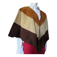 1970's Leathercraft Suede Poncho Tri Color with Tags
