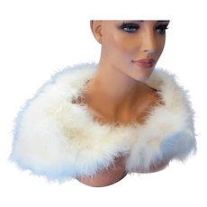 White Feather Stole Cape Mid Century Style