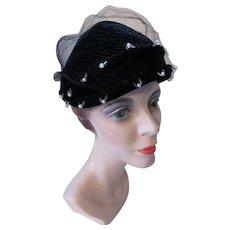 Black Velvet Half Hat Mid Century Style Faux Pearls Clear Baguette Beads Black Veil 1950 Era 1960 Era Winter Hat Fall Topper