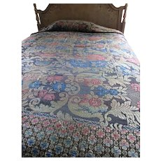 Bohemian Style Early 20th Century Woven Coverlet in Jewel Colors