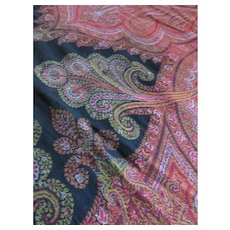 Victorian Era Bedspread Wool Red Paisley Black Center