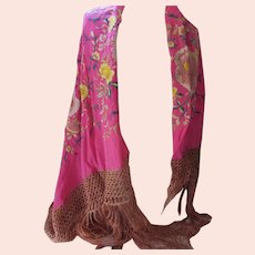 1920 Era Shawl or Piano Scarf Floral Neon Pink Deep Fringe