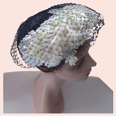 1950 Era Navy Straw Hat White Flower Swag Norman Durand
