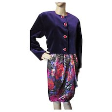 Vintage Guy Laroche 3 Piece Set Purple Velvet Jacket Metallic Purple Red Skirt Cherry Red Bustier Boutique Collection Paris Made in France Size 10