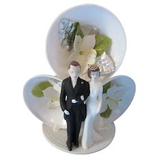 Wedding Cake Topper Bride Groom on Three Bell Platform