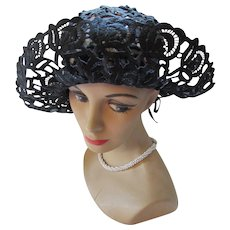 RESERVED! Vintage Wide Brim Hat in Black Lace with High Crown 1960 Era Hat Summer Hat
