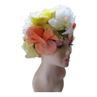 Spring Summer Hat Profusion of Flowers in Citrus Colors