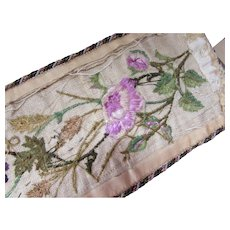 Lovely Panel of Embroidered Flowers and Berries White Roses and Fall Foliage