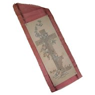 Hand Made Early 20th Century Bookmark Cross Stitch Cross Design on Pepper Berry Silk Ribbon