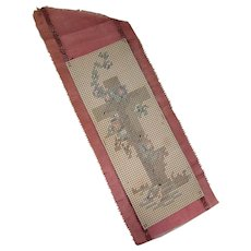 Hand Made Early 20th Century Bookmark Cross Stitch Cross Design on Pepper Berry Silk Ribbon