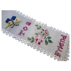 Early Bookmark To A Friend  Butterfly Roses Cross Stitch on Perforated Paper with Paper Lace Edge on Ribbon