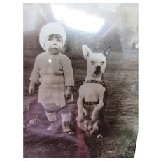 Cutest Ever Photo Toddler and Bull Dog Playing in Park Black and White '30's/'40's