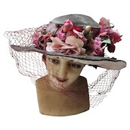 Edwardian Era Wide Brim Gray Green Velvet Hat with Plethora of Pink Flowers