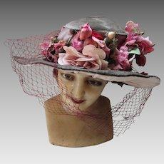 Edwardian Era Wide Brim Gray Green Velvet Hat with Plethora of Pink Flowers