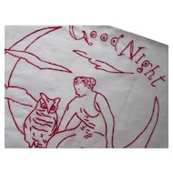 Vintage Lay Over Pillow in Red Work Good Night Lady on Moon with Owl