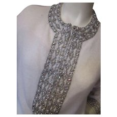 Lovely Vintage White Cashmere Sweater by Peter Harilela with Silver Tone Beading
