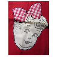 Pair Kitchen Towels with Line Drawn Mr & Mrs Appliques on Red and Gingham Border