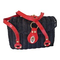 Wicker Purse Navy and Red Patent Leather Styled by Encore Hong Kong