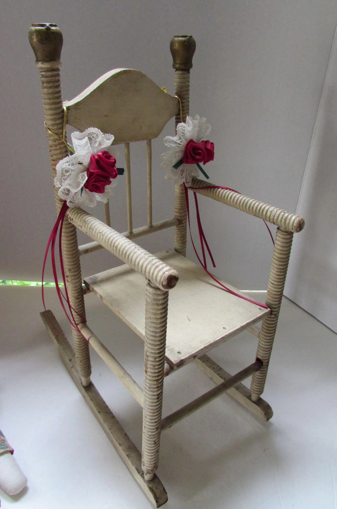 Wood Doll Rocking Chair Painted In Cream With Twisted