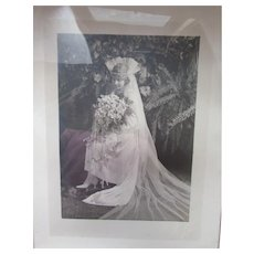 Lovely 1920's Bride Photograph Black and White with Exquisite Wedding Gown Court Veil and Trailing Bouquet Framed