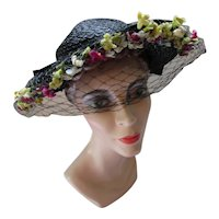 Wide Brim Black Straw Hat Shy Band of Flowers 1930/1940