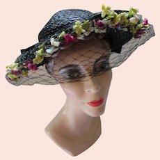 Wide Brim Black Straw Hat Shy Band of Flowers 1930/1940