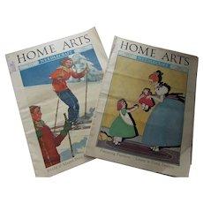 Pair Home Arts & Needlecraft Magazines February March 1939