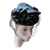 1940 Era Black Satin Tilt Hat Ruffled Swag Chignon Strap Veil