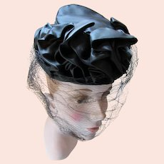 1940 Era Black Satin Tilt Hat Ruffled Swag Chignon Strap Veil