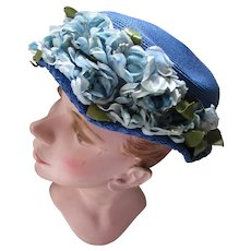 Soldier Blue Hat with Profusion of Blue Roses Mid Century Old Church Hat