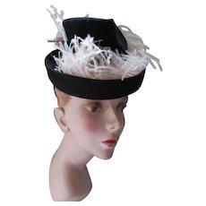 1940 Era Black Felt Tilt Hat Pink Ostrich Feathers Merrimac Hats