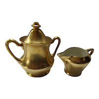 Pickard China Creamer & Sugar Gold Rose & Daisy