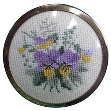 Sweet Small Pocket Mirror with Needlepoint Johnny Jump Up Violets Purple and Yellow