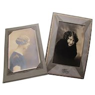Pair Vintage Sepia Photographs of Women with Marcel or Finger Waved Hair 1920 Era Free Shipping USA