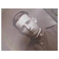 WWI Portrait of Soldier in Uniform Sepia in Photo Mount Stoughton WI