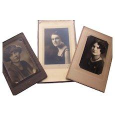 Trio 1920 Era Ladies Sepia Photographs Marcelled Hair Style