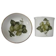 Royal Worcester Mathon China Hop Pattern Cigarette Box & Plate