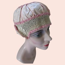 Pretty 1920 Style Boudoir Cap in Pink Satin and Ecru Crochet