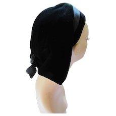 Mid Century Black Velvet Hat Angled Style D'orsay