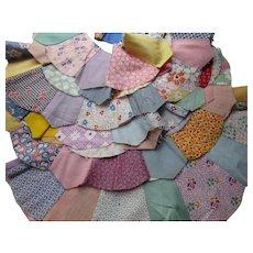 Cottage Style Vintage Quilt Blocks Dresden Plate 1930-1950 Prints Hand Sewn Large Size
