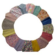 Cottage Style Set of Ten Dresden Plate Quilt Blocks in Variety of Prints and Solid Cottons Hand Sewn